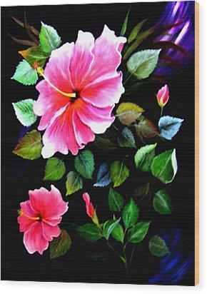 Pink Hibiscus Wood Print by Fram Cama