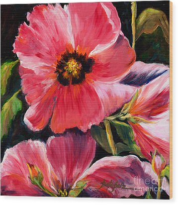 Pink Hollyhocks Wood Print