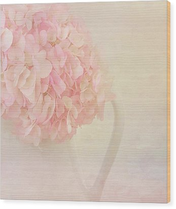 Pink Hydrangea Flowers In White Vase Wood Print by Kim Hojnacki