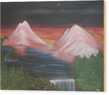Pink Mountains Wood Print by Melanie Blankenship