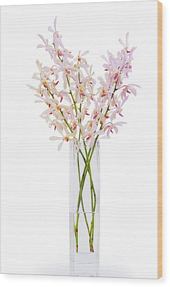 Pink Orchid In Vase Wood Print by Atiketta Sangasaeng
