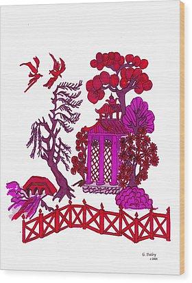 Pink Pagoda Wood Print by Gail Daley