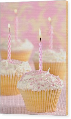 Pink Party Cupcakes Wood Print by Amanda Elwell