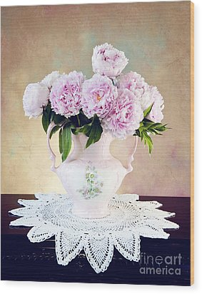 Wood Print featuring the photograph Pink Peonies by Cheryl Davis