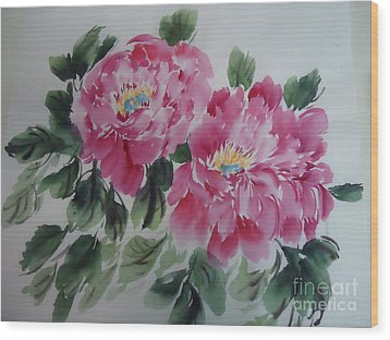 Wood Print featuring the painting Pink Peony by Dongling Sun