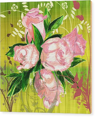 Pink Rose Bouquet Wood Print by Barbara Giordano