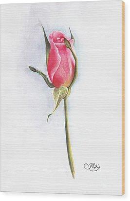 Pink Rose Wood Print by Muna Abdurrahman