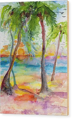 Pink Sands And Palms Island Dreams Watercolor Wood Print by Ginette Callaway