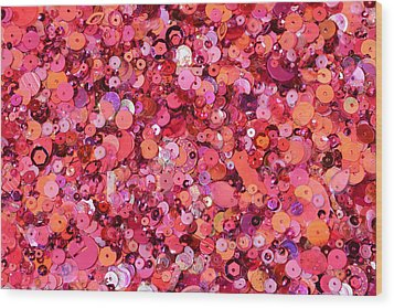 Pink Sequins Of Various Shapes And Sizes Wood Print by Andrew Paterson
