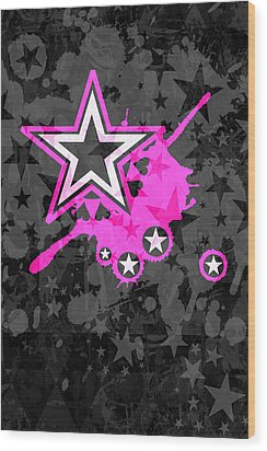 Pink Star 3 Of 6 Wood Print by Roseanne Jones