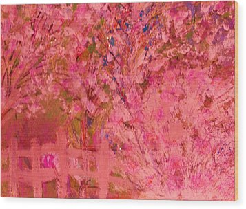 Pink Tree And Fence Wood Print by Anne-Elizabeth Whiteway