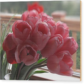 Wood Print featuring the photograph Pink Tulips In Vase by Katie Wing Vigil