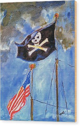 Wood Print featuring the painting Pirate Flag Over Savannah by Doris Blessington
