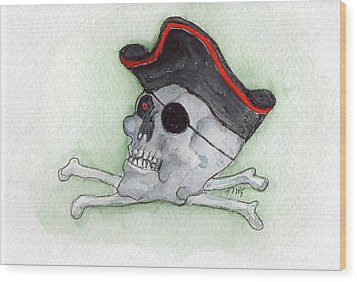 Wood Print featuring the painting Pirate Greetings by Doris Blessington
