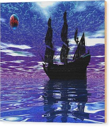 Pirate Ship Wood Print by Matthew Lacey