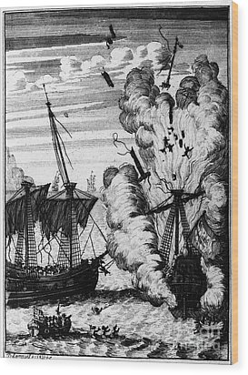 Pirate Ships Wood Print by Granger