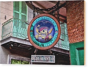 Pirates Alley Cafe Wood Print by Bill Cannon