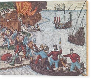 Pirates Burn Havana, 1555 Wood Print by Photo Researchers