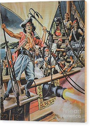 Pirates Preparing To Board A Victim Vessel  Wood Print by American School