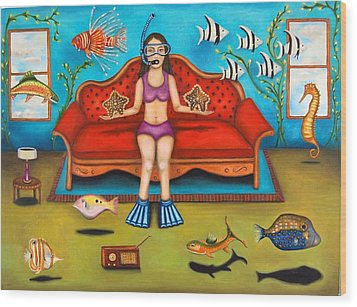 Pisces 3 Wood Print by Leah Saulnier The Painting Maniac