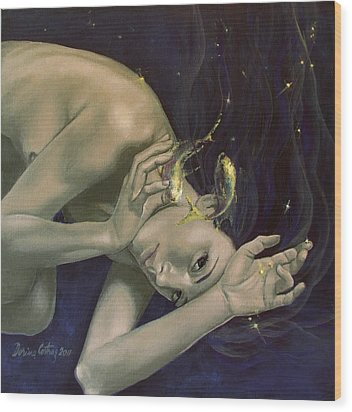 Pisces From Zodiac Series Wood Print by Dorina  Costras
