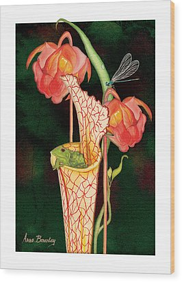 Wood Print featuring the painting Pitcher Plant With Blooms by Anne Beverley-Stamps