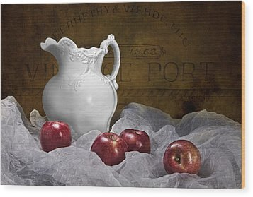 Pitcher With Apples Still Life Wood Print by Tom Mc Nemar