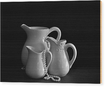 Pitchers By The Window In Black And White Wood Print by Sherry Hallemeier