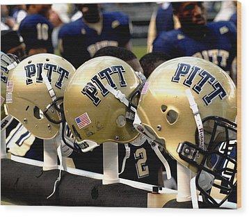 Pitt Helmets Awaiting Action Wood Print by Will Babin