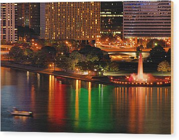 Wood Print featuring the photograph Pittsburgh At Night by Michelle Joseph-Long