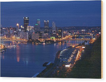 Wood Print featuring the photograph Pittsburgh In Blue by Michelle Joseph-Long