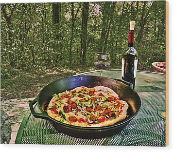 Wood Print featuring the photograph Pizza And Vino by William Fields