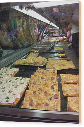 Pizza Pizza Wood Print by Sandy Collier
