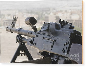 Pkm 7.62 Machine Gun Nest On Top Wood Print by Terry Moore