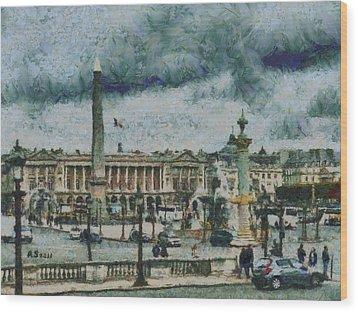 Place De La Concorde Wood Print by Aaron Stokes