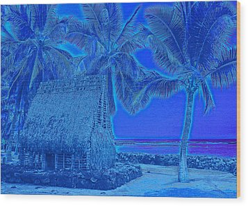 Wood Print featuring the digital art Place Of Refuge In Blue by Kerri Ligatich