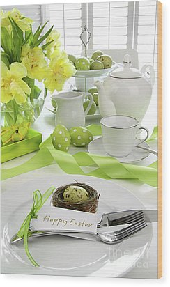Place Setting With Card For Easter Brunch Wood Print by Sandra Cunningham