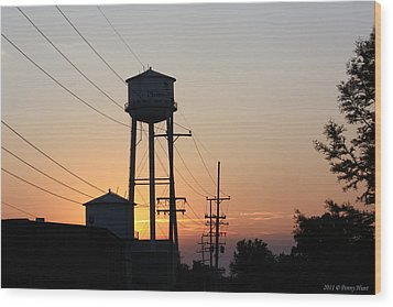 Wood Print featuring the photograph Plainwell Paper Sunset by Penny Hunt