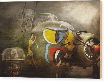 Plane - Pilot - Airforce - Dog Daize Wood Print by Mike Savad