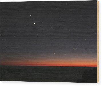 Planetary Conjunction, Optical Image Wood Print by Eckhard Slawik