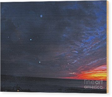 Planets Revealed At Sunset Wood Print by Joan McArthur
