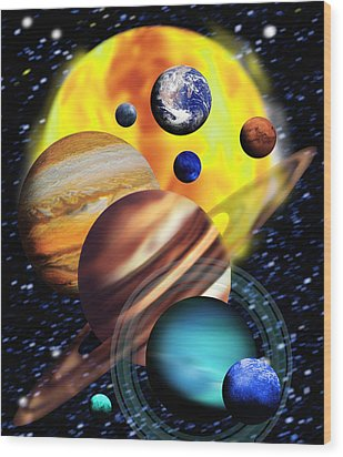 Planets & Their Relative Sizes Wood Print by Victor Habbick Visions