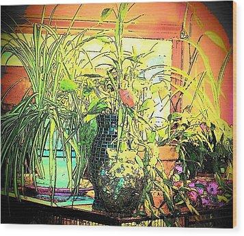 Wood Print featuring the mixed media Plants by YoMamaBird Rhonda