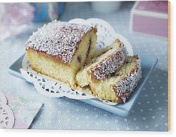 Plate Of Sliced Fruit Cake Wood Print by Debby Lewis-Harrison