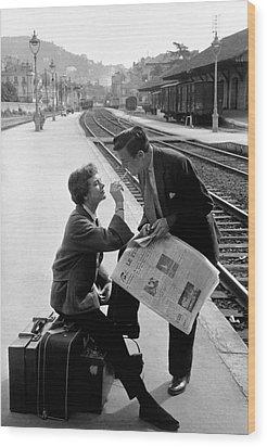 Platform Cigarette Wood Print by Kurt Hutton