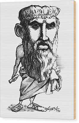 Plato, Caricature Wood Print by Gary Brown