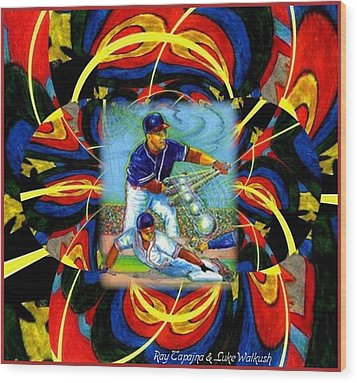 Wood Print featuring the mixed media Play Ball  Getting On Base by Ray Tapajna