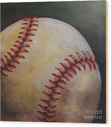 Play Ball No. 2 Wood Print by Kristine Kainer