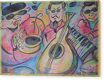 Play The Blues Wood Print by M C Sturman