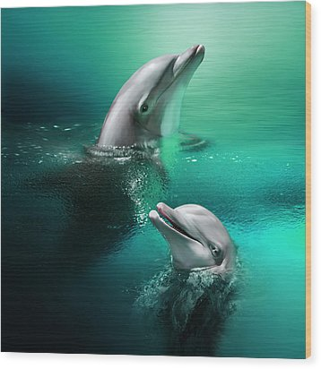 Playful Dolphins Wood Print by Julie L Hoddinott